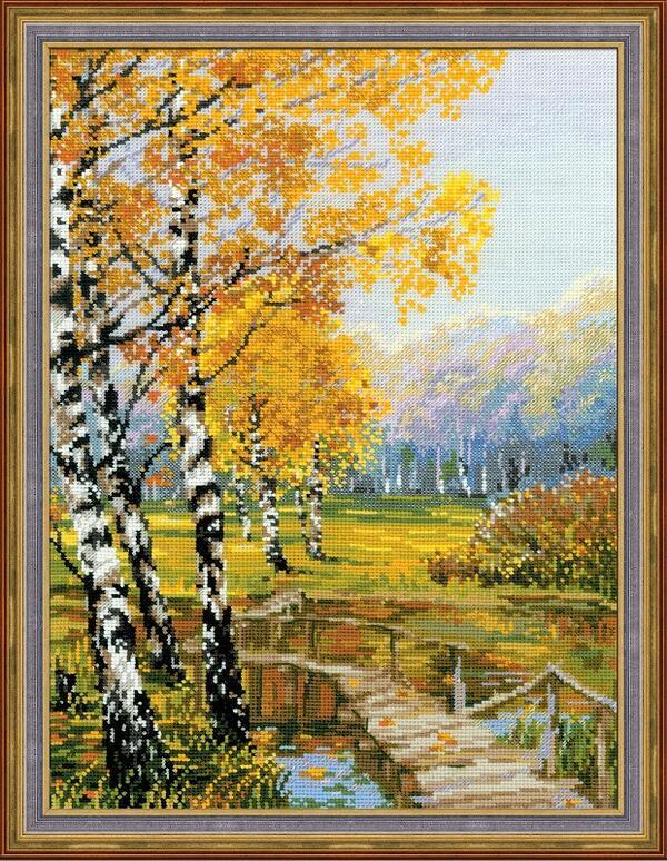 RIOLISクロスステッチ刺繍キット No.1134 「The Birches」 (樺の並木) ロシアの刺しゅうメーカー「リオリス」製ししゅうキット