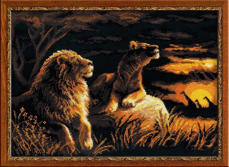 RIOLISクロスステッチ刺繍キット No.1142 「The Lions in the Savannah」 (サバンナのライオン) ロシアの刺しゅうメーカー「リオリス」製ししゅうキット