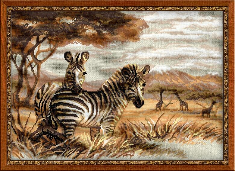 RIOLISクロスステッチ刺繍キット No.1143 「The Zebras in the Savannah」 (サバンナのシマウマ) ロシアの刺しゅうメーカー「リオリス」製ししゅうキット