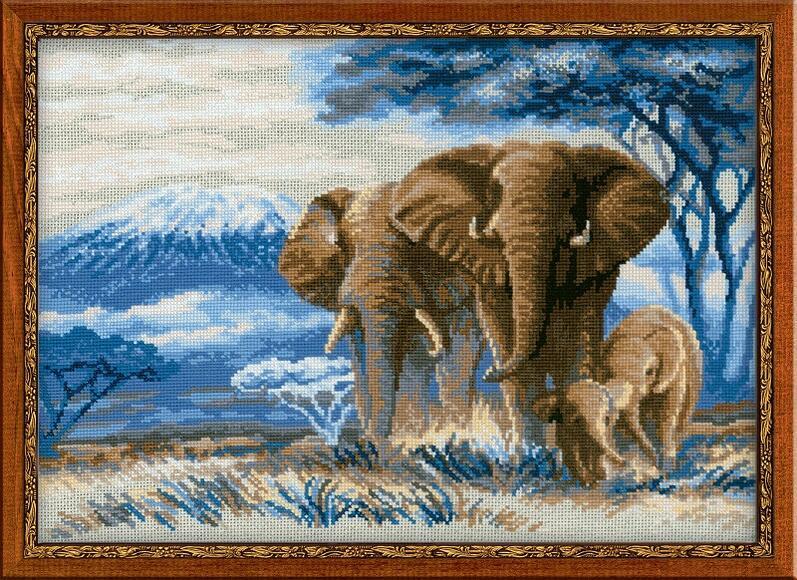 RIOLISクロスステッチ刺繍キット No.1144 「The Elephants in the Savannah」 (サバンナのゾウ 象) ロシアの刺しゅうメーカー「リオリス」製ししゅうキット