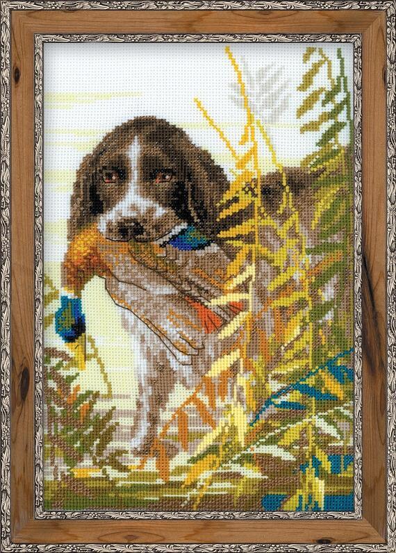 RIOLISクロスステッチ刺繍キット No.1151 「Hunting. The Spaniel」 (狩猟犬 スパニエル) ロシアの刺しゅうメーカー「リオリス」製ししゅうキット