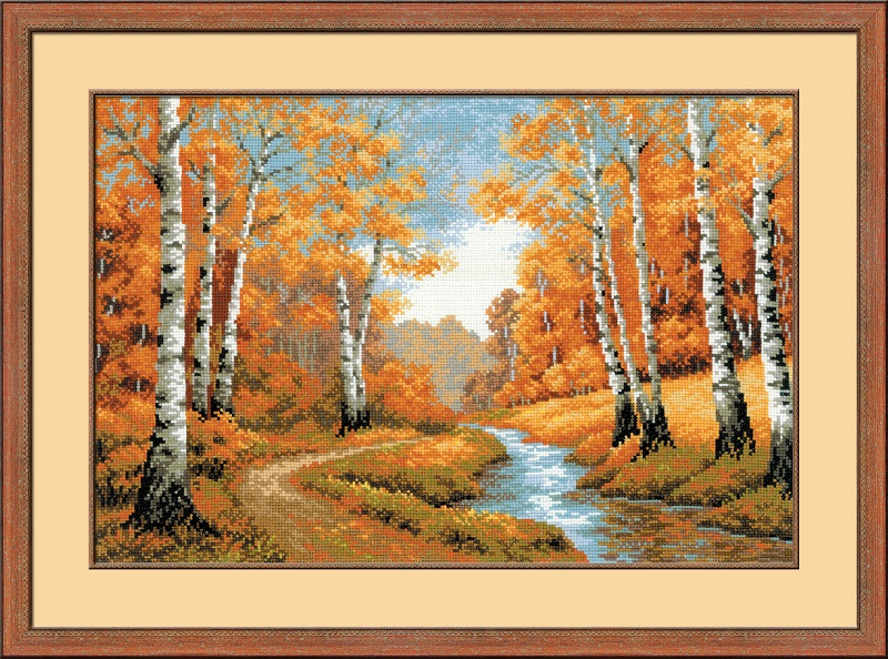 RIOLISクロスステッチ刺繍キット No.1155 「The Golden Grove」 (紅葉) ロシアの刺しゅうメーカー「リオリス」製ししゅうキット