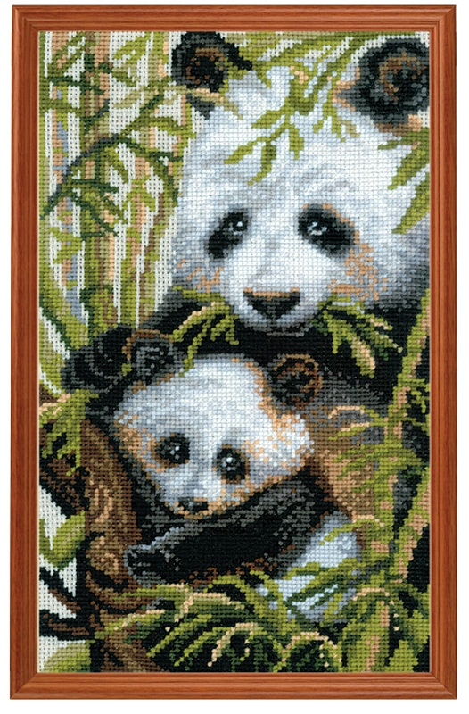 RIOLISクロスステッチ刺繍キット No.1159 「The Panda with the Young」 (パンダの親子) ロシアの刺しゅうメーカー「リオリス」製ししゅうキット