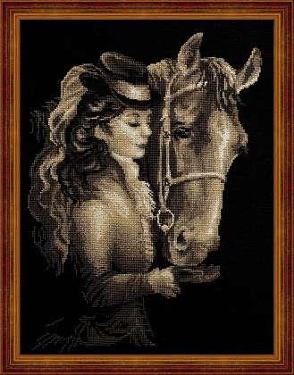 RIOLISクロスステッチ刺繍キット No.1238 「Amazon」 (アマゾン 馬と女性) ロシアの刺しゅうメーカー「リオリス」製ししゅうキット