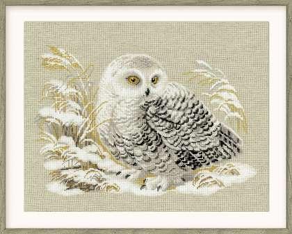 RIOLISクロスステッチ刺繍キット No.1241 「White Owl」 (白いフクロウ) ロシアの刺しゅうメーカー「リオリス」製ししゅうキット