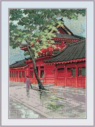 RIOLISクロスステッチ刺繍キット No.1242 「Red Pagoda」 (赤い塔) ロシアの刺しゅうメーカー「リオリス」製ししゅうキット