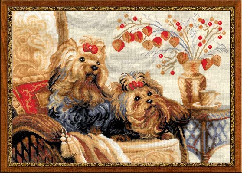 RIOLISクロスステッチ刺繍キット No.1248 「Pets」 (ペット 犬 イヌ) ロシアの刺しゅうメーカー「リオリス」製ししゅうキット