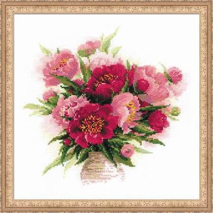 RIOLISクロスステッチ刺繍キット No.1259 「Peonies in a Vase」 (花瓶のシャクヤク) ロシアの刺しゅうメーカー「リオリス」製ししゅうキット 芍薬