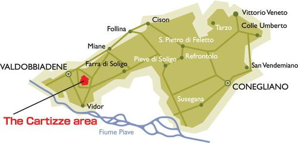 カルティッツェの地図