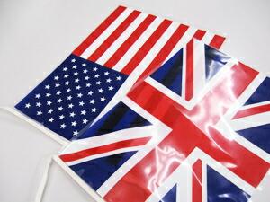 万国旗の縫製とヒモ