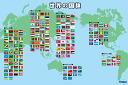 地图世界的国旗花毯