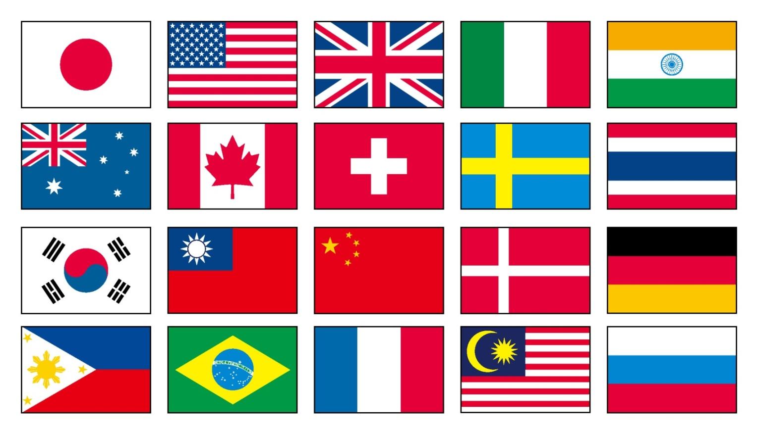 万国旗の20ヶ国