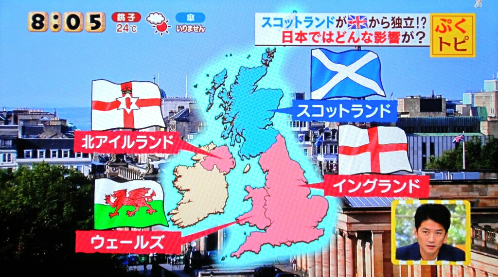 スコットランド独立 国旗のテレビ取材