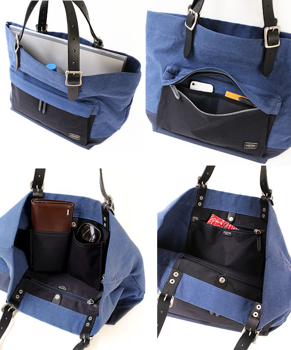 ポーター ブリッジ トートバッグ S 193-04060 ディティール 充実のポケット