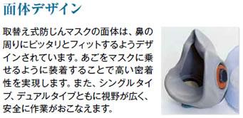 3M取り換え式防塵マスク 面体デザイン