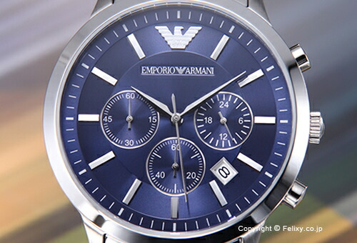 ��EMPORIO ARMANI�ۥ���ݥꥪ����ޡ��� �ӻ��� Classic Collection Chronograph (���饷�å� ���쥯����� ����Υ����) �֥롼 AR2448