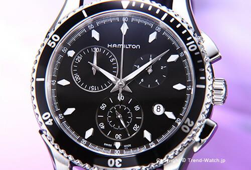 ��HAMILTON�ۥϥߥ�ȥ� Seaview Chrono (�����ӥ塼 �����) SS �֥�å�/�֥�å��쥶�����ȥ�å� H37512731