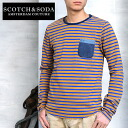 SCOTCH &SODA denim heart Pocket border long sleeve t-shirt