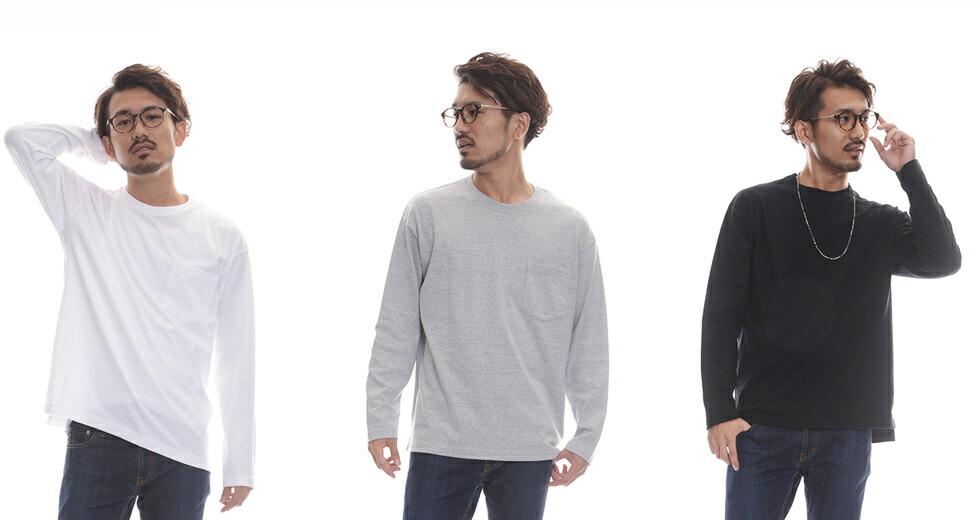 501201 5.6オンス ルーズフィット ロングスリーブ Tシャツ(ポケット付)