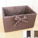 Choose 2 colors for color box Ribbon is so cute (* ^ _ ^ *) uchinuno dot pattern color paper baskets: natural Brown: 36 × 26 × h 20