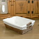 Boil Willow cloth with better laundry basket shallow M 45 x 31 x h13.5 handle up to 17.5 cm