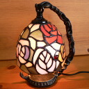 Stained glass lamp hanging type 1 arm 4 colors of rose flowers (Felicia)15.5 × h19