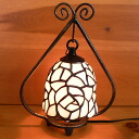 Stained glass lamp small hanging-arm 2 pink rose 19 × h24