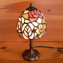 Flowers rose stained glass lamp 4 color old rose compact 12 x h24