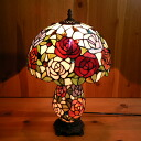 Stained glass lamp roses flowers ( Charlotte ) large 31.5 × h50