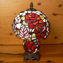 21* stained glass lamp rose (charlotte) medium size h35
