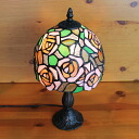 Stained glass lamp Pink Roses (Lady Rose) medium-sized 20 x h37