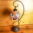 23* 1 ステンドランプ carrying an opponent out of the ring type arm colorful rose (ティノローズ) stained glass lamp h57