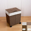 S paper laundry box with casters [Brown and beige: 32 × 26 x h41 (including casters ) gkg1166