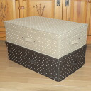 "Folding bed storage box with lid (Polka) ""beige-Brown: 59 × 39 x h17.5"