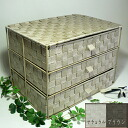 Knick-knacks had been settled (^. ^) Ribbon tape storage three mini chest of drawers [Brown and natural 34 × 24 × h24