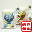 Six points of six points of crowded (^ - ^) bone china owl blue & yellow pair mug cup sets (entering vanity case with the spoon roller coaster)