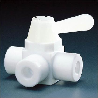 フッ素樹脂(PTFE)三方ボールバルブRC3/8フッ素ゴム   NR0002-002