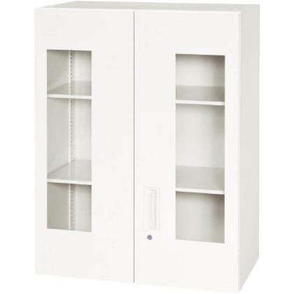 【送料無料】ダイシン 壁面収納庫窓付き両開き型上置き専用W800ホワイト   V845-10HG  文具・事務用品文具・OA機器