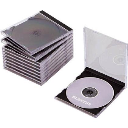 エレコム CD・DVD・Blu-rayプラケース1枚収納ブラック(10枚入) CCD-JSCN10BK 10枚