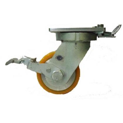 超重量用高硬度ウレタン自在車ストッパー・旋回ロック付1500kg用   HDUJ150ST-TL