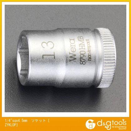 """エスコ ソケット[ZYKLOP]  1/4""""sq×4.5mm EA617AH-4.5"""