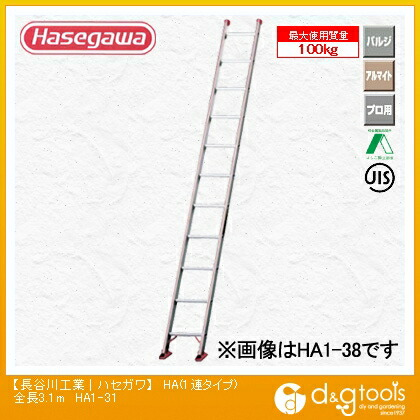【送料無料】長谷川工業 1連はしご HA1(10047)  全長3.1m HA1-31  1連はしごはしご