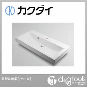 カクダイ 角型洗面器(1ホール) (493-070-1000) 洗面器 洗面