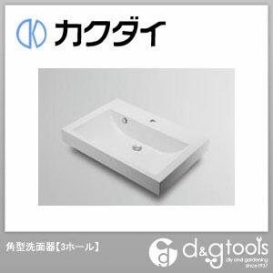 カクダイ 角型洗面器(3ホール) (493-071-750) 洗面器 洗面