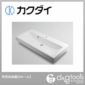 カクダイ 角型洗面器(3ホール) (493-071-1000) 洗面器 洗面