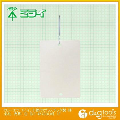 カラーエフ (バインド線付)プラスチック製・線名札 角形 白 (KF-4570BLW) 1袋10枚