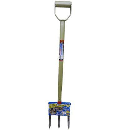 菜園用土起こしフォーク 3本爪  全長:約930mm、肩幅:185mm、爪長さ:215mm 79813