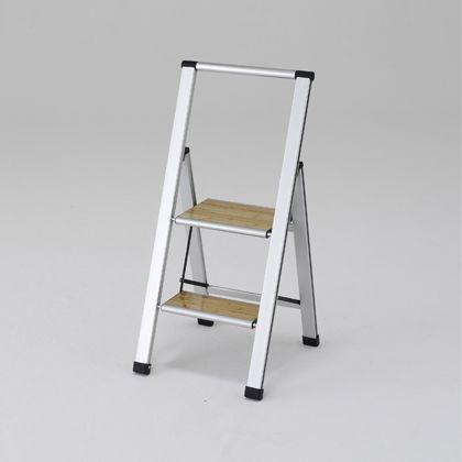 上枠付踏み台 本体:シルバー ステップ:木目 天板高さ:470mm全高:920mm SSM50