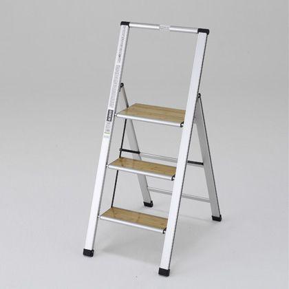 上枠付踏み台 本体:シルバー ステップ:木目 天板高さ:720mm全高:1175mm SSM70