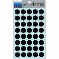 カラーラベル15mm丸 黒 (07029)